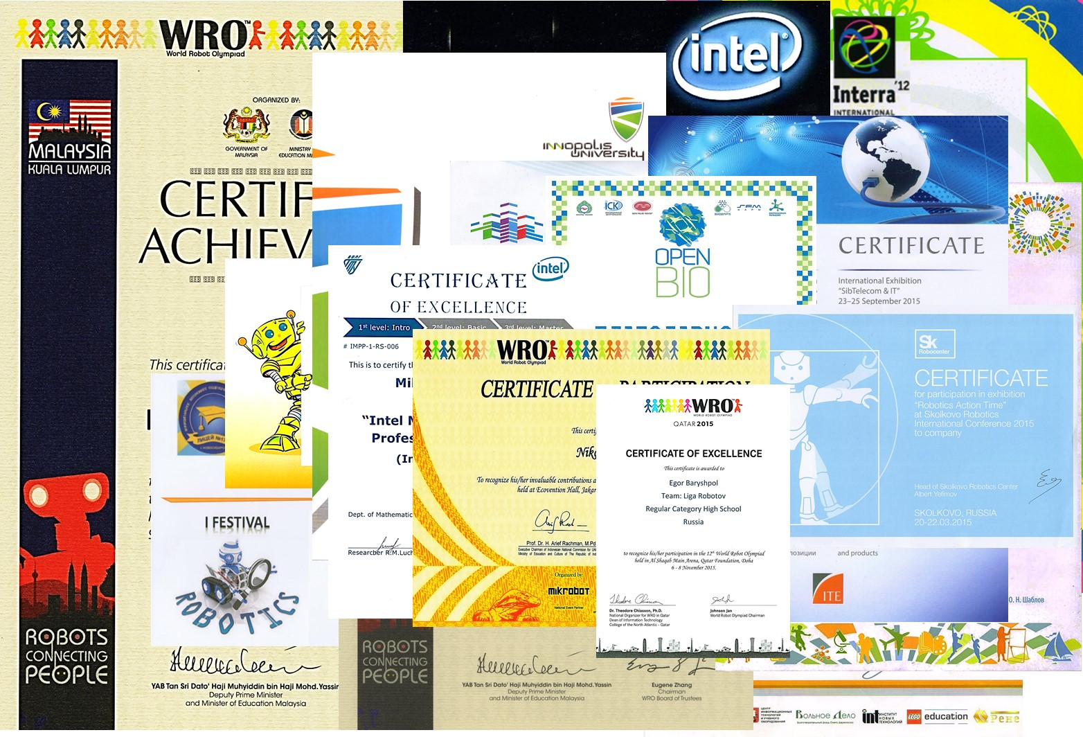 certificates of excellence and designations
